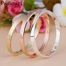 2a1ed3730b40 De acero inoxidable de lujo pulseras y brazaletes de oro marca de Color CZ  hebilla de cristal amor pulsera del encanto para las .