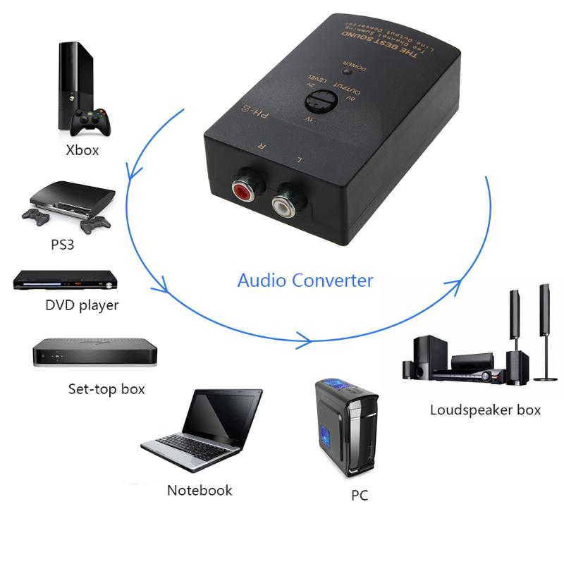 High to Low Car RCA Stereo Audio Converter 2 Channel L R Summing Line Output Converter Box with Control Wire