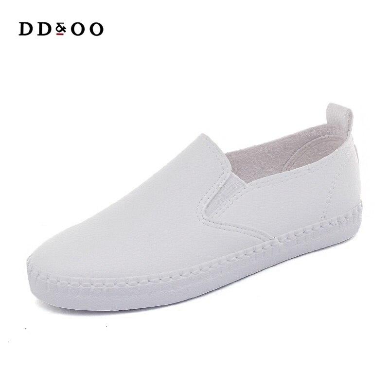2018 Лето Осень Новая мода женская обувь повседневная обувь на плоской подошве однотонные дышащие простые женские повседневные белые ботинк...