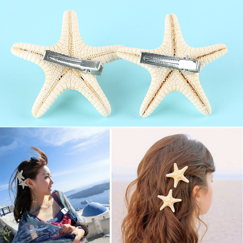 1/2 Pcs Summer Beach Barrettes Hair Clip Girls Elegant Starfish Sea Star Hairpins Fashion Lady Hair Clips Girls Accessories