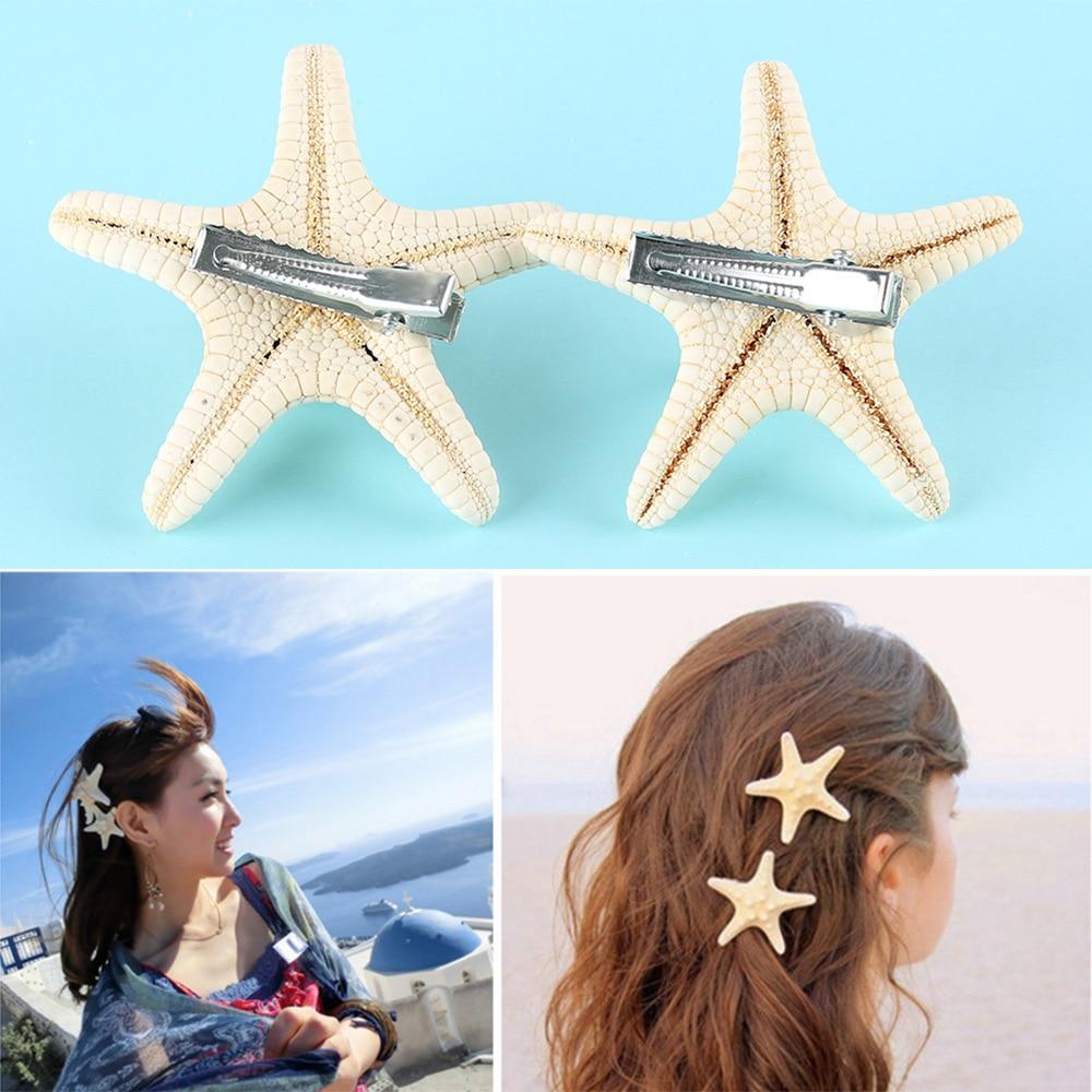 1/2 Pcs Summer Beach Barrettes Hair Clip Girls Elegant Starfish Sea Star Hairpins Fashion Lady Hair Clips Girls Accessories