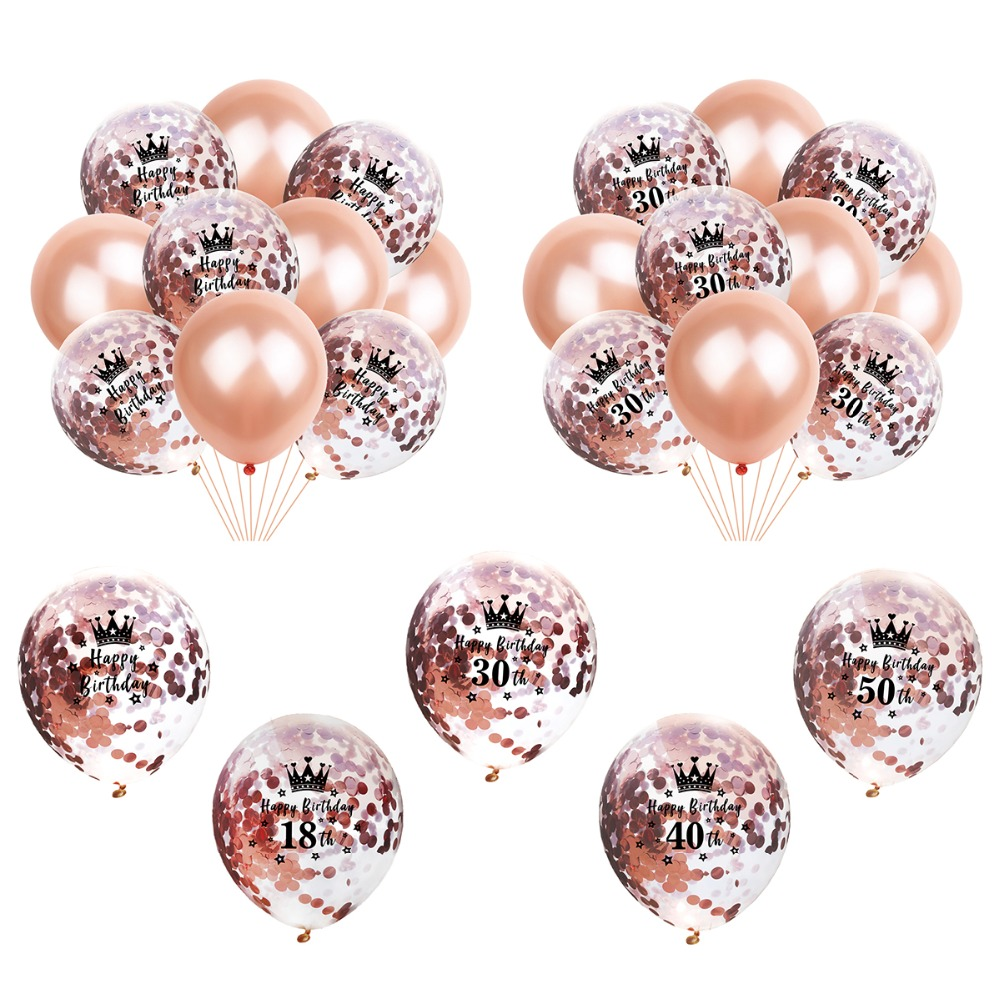FengRise Rose Gold 30 40 50 Happy Birthday Balloon 30th Decoration Party Decor Adult Latex Anniversary