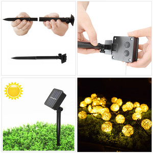 Image 3 - LED Light String 6M 30 LED Garland Solar String Lights Rattan Ball Fairy String Light For Holiday Christmas Outdoor Decoration