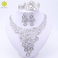 Fashion African Costume Crystal Jewelry Sets Dubai Silver Plated Jewelry Sets Elegant Rounded Necklace Design For