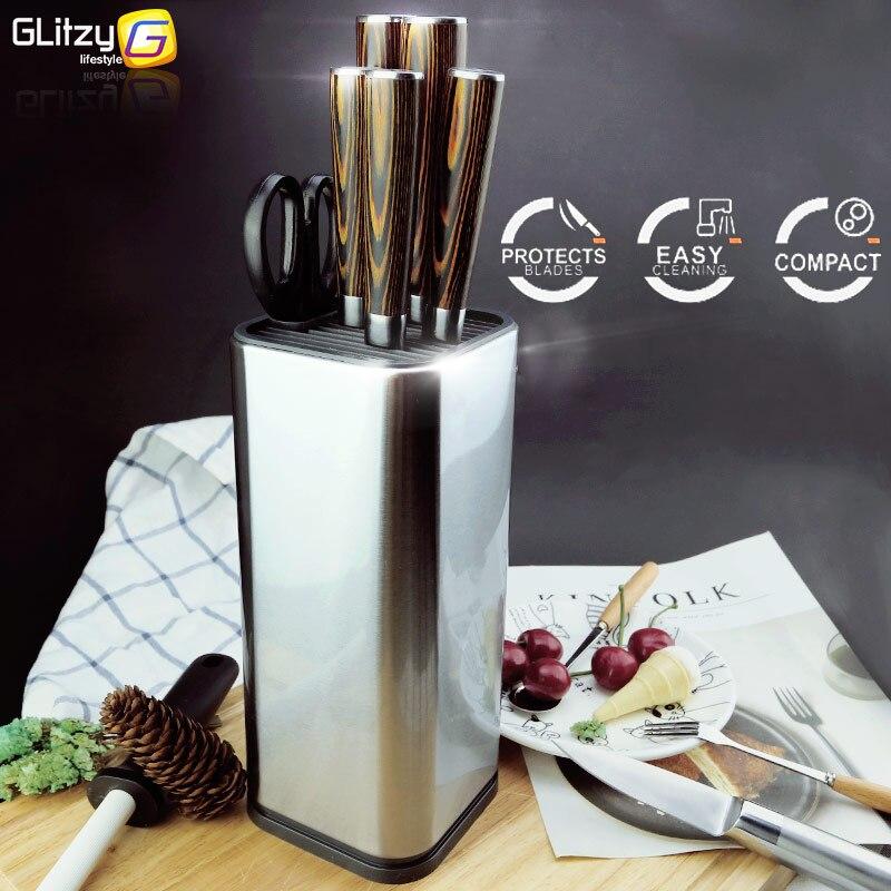 Bıçak tutucu 304 paslanmaz çelik çok mutfak bıçağı seti makas pişirme kapları organizatör bıçaklar standı blok aracı