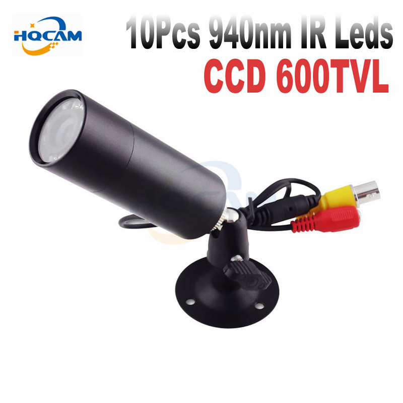 HQCAM 1/3 Sony 600TVL CCD Mini Bulls IR 940NM 0 lux Night Vision CCTV Outdoor Cameraet Invisible 10pcs Led mini bullet camera kaycube 10 led lights 1 3 sony ccd