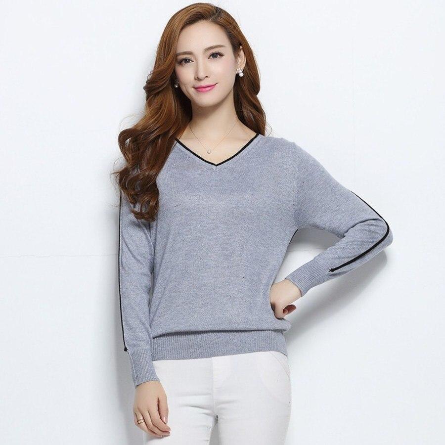 Mode coréenne automne pull en cachemire tricot hiver femmes mode collier nouveau v-laine chandails chemise couleur main off