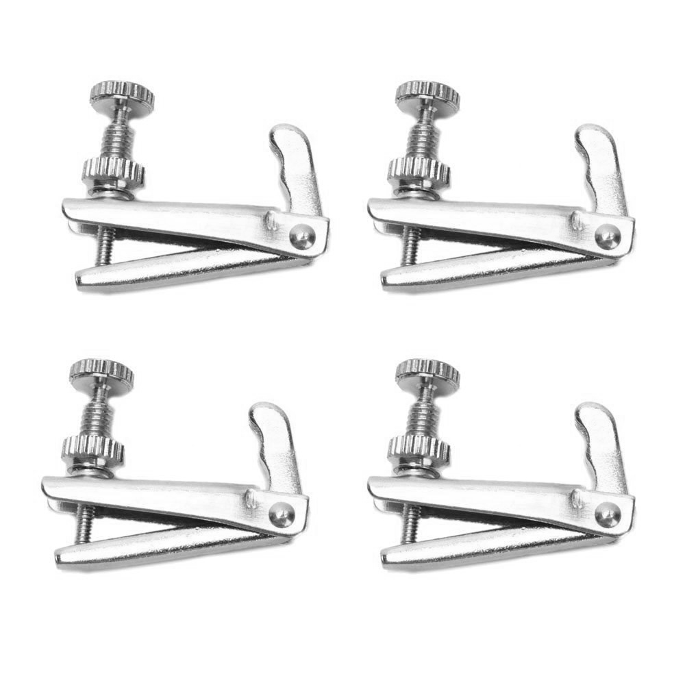 One Set of 4 Pieces Stable-style 1/2-1/4 Violin String Adjusters Fine Tuners Silver