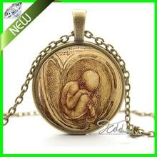Leonardo Da Vinci feto collar colgante – partera mamá embarazada de la joyería del bebé regalo de la foto del vidrio del arte colgante , collar Cabochon