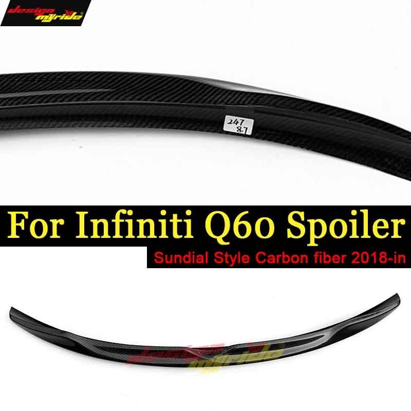 Q60 Wing Rear Spoiler Tail Sundial style Carbon fiber For Infiniti Q60 Q60S Rear Trunk Spoiler