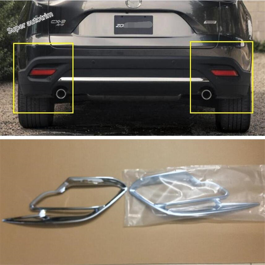 Lapetus Accessories Exterior Rear Fog Lights Lamp Cover Trim 2 Piece ABS Fit For <font><b>Mazda</b></font> <font><b>CX</b></font>-<font><b>9</b></font> CX9 <font><b>2017</b></font> 2018 <font><b>2019</b></font> / Chrome Kit image
