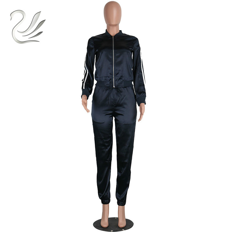 3447456df0c Casual Long Sleeve Striped Print Satin Jumpsuit Women Autumn Loose  Drawstring Two Piece Bodysuit Sexy Club Party Romper-in Jumpsuits from  Women s Clothing ...