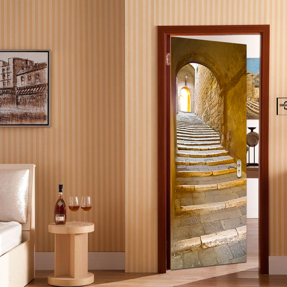 3D Wall Stick Decal Art Decor Vinyl European Stone Staircase Door Poster Removable Mural Poster Scene Window Door Livingroom