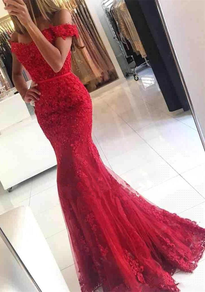 Lace Appliques Beads Robe De Soiree Red Mermaid   Evening     Dress   2017 Formal   Dress