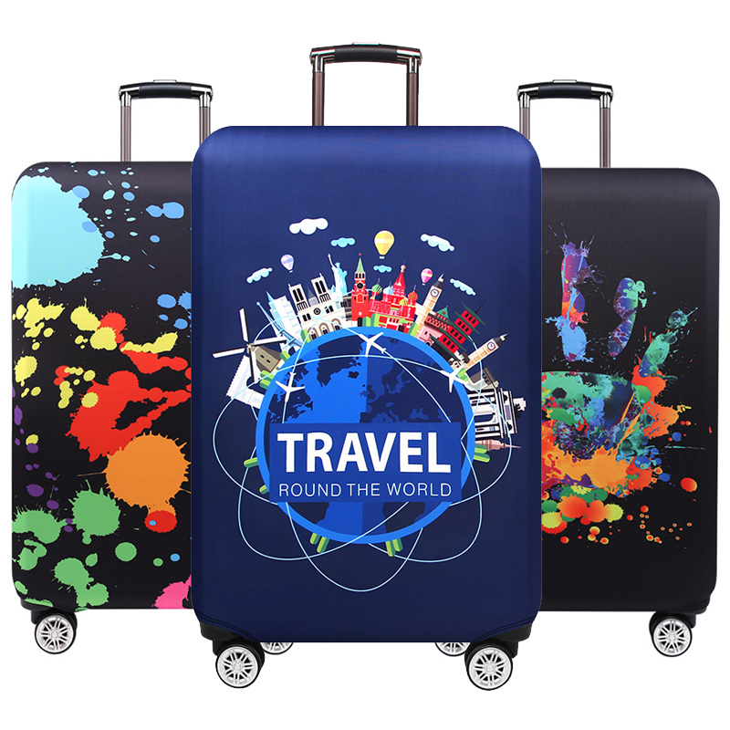 Travel Around The Word Suitcase Protective Covers Thick Elastic Luggage Cover Protector For 18