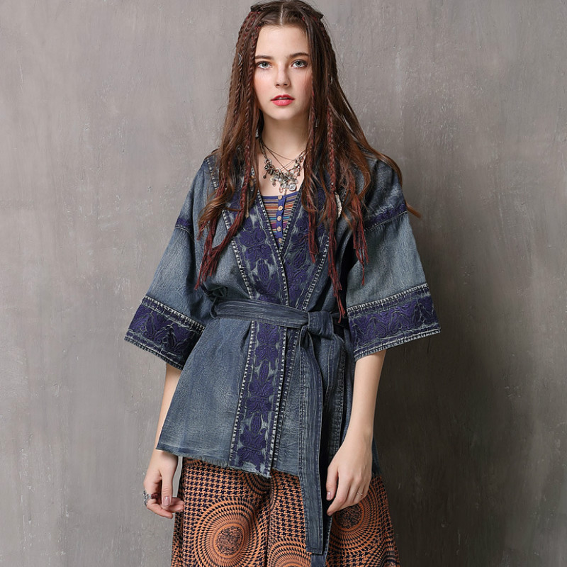 Lace up Jeans Shirt Kimono V-Neck Jacket Retro Floral embroidery Denim Cardigan Three quarter sleeved Top with Belt Cowboy Coat Рубашка