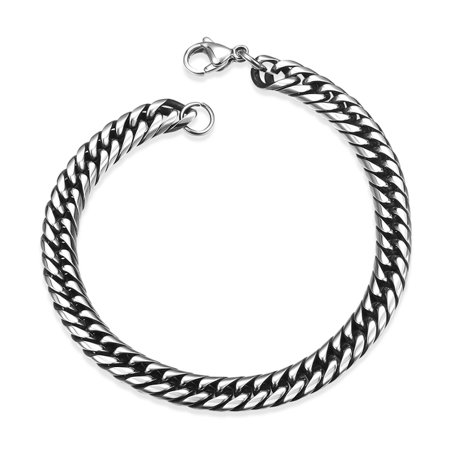 Stainless Steel Plated Silver Vintage 7mm Cuban Link Chain Men Bracelet Pulsera Fashion Jewelry Bracelets Bangles Male Party