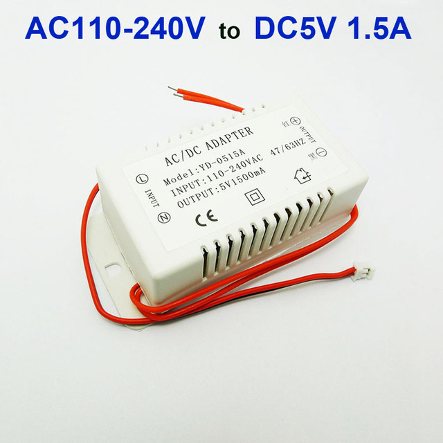 5V 1.5A Power Supply AC/DC adapter transformers switch for DIY MP3 MP5 KIT Decording board Power Supply AC 110-240V