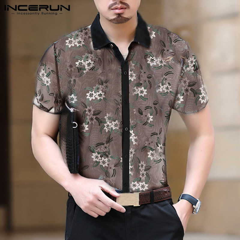 INCERUN Short-sleeved Fashion Summer New Men's Lapel Shirt Slim Openwork Embroidery Casual Designer Breathable 2019 Camisas 5XL