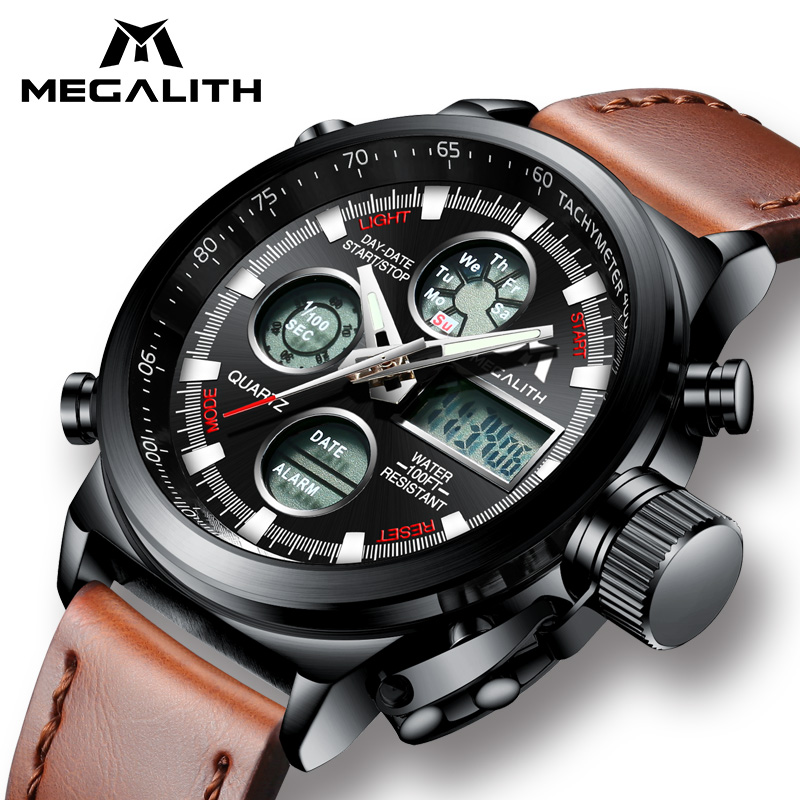 ad888262db06 Mouse over to zoom in. MEGALITH Watch Men Military Sports Waterproof  Wristwatch LED Digital Multifunction Watch Male Clock Brown Genuine Leather  ...