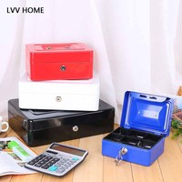 LVV HOME Metal coffer portable storage box/Large capacity safe with lock Key car compartment finishing storage boxes