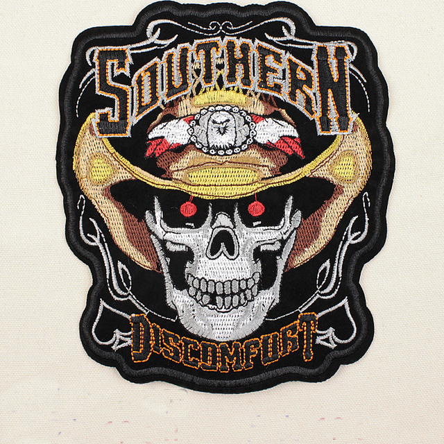 Embroidered Southern Discomfort Skull Patches Iron On Ponk Rocker Patch Motorcycle MC Biker Motocross