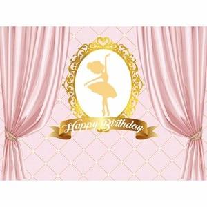 Image 2 - Funnytree aniversário pano de fundo bailarina menina rosa fundo cortinas decoração festa uma foto câmera fotográfica profissional