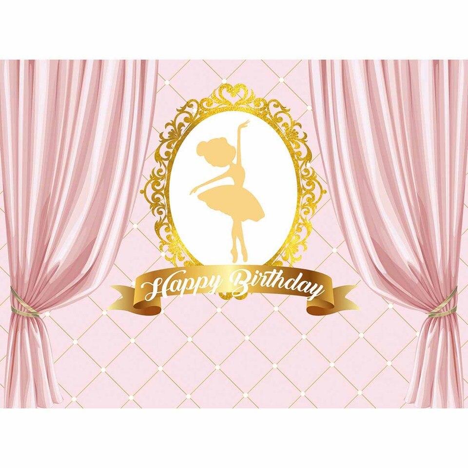 Funnytree Birthday Backdrop Ballerina Girl Pink Background