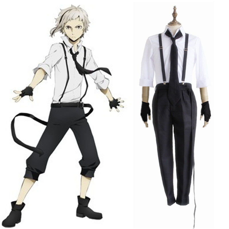 Bungo Stray Dogs Literary Detective Atsushi Nakajima Cosplay Costume Full Set Uniform ( Shirt + Pants + Braces + Tie + Gloves )