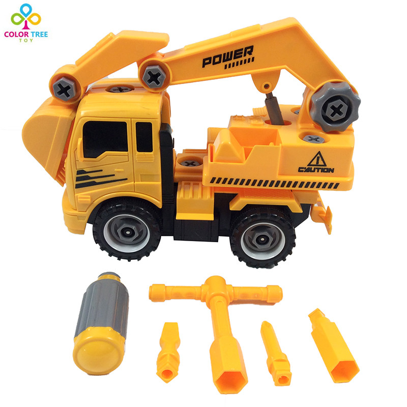 Construction Vehicle Toys For Boys : Plastic diy excavator mixer construction vehicle transport