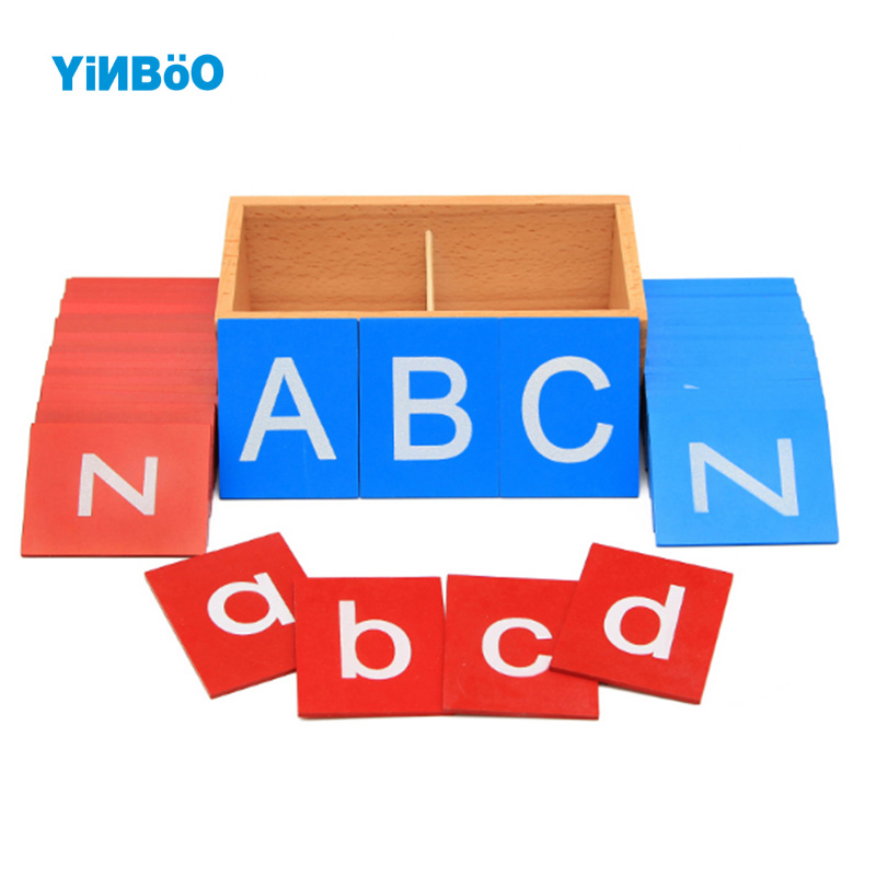 Baby Toys Montessori Lower And Capital Case Sandpaper Letters Boxes Wooden Toys Child Educational Early Development learn Gift