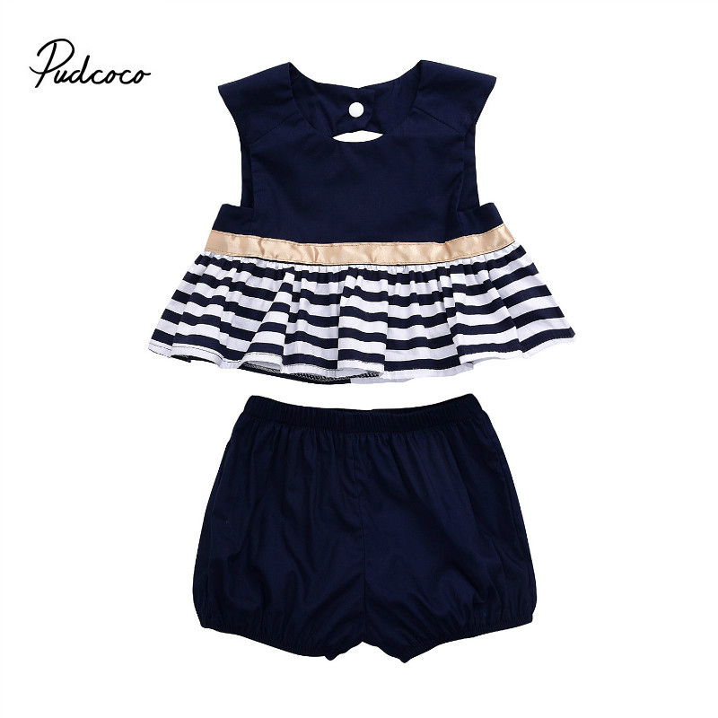 Pudcoco Summer Newborn New Style Fashion Baby Girl Navy