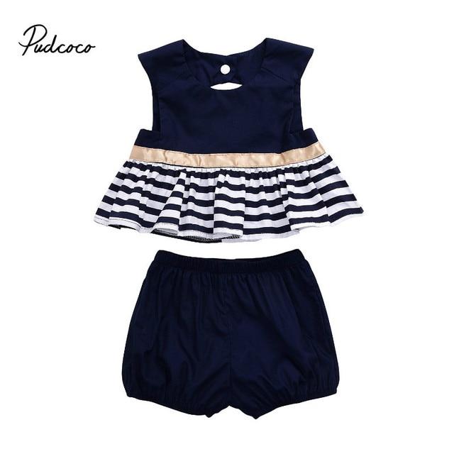 cc58b475a0e45 Pudcoco été nouveau-né nouveau Style mode bébé fille bleu marine robe haut  sans dossier