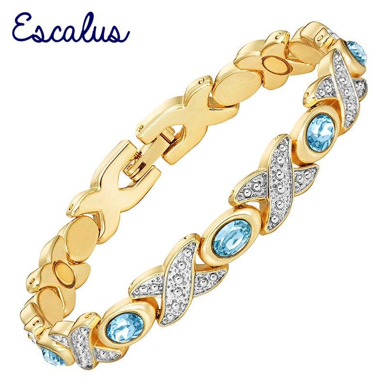 4b576b878317 Pulsera de oro de plata de 2 tonos para mujer, pulsera de piedras  magnéticas Skyblue, brazalete para mujer, joyería azul, amuleto de pulsera  de ...