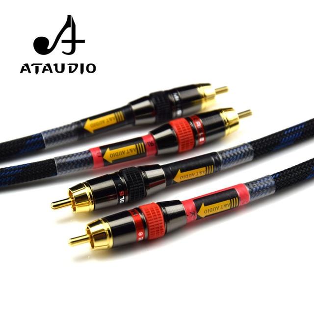 Ataudio аудиокабель HIFI RCA высокое качество 4N из бескислородной меди, Hi-Fi, 2RCA кабель со штыревыми соединителями на обоих концах для подключения аудио кабель