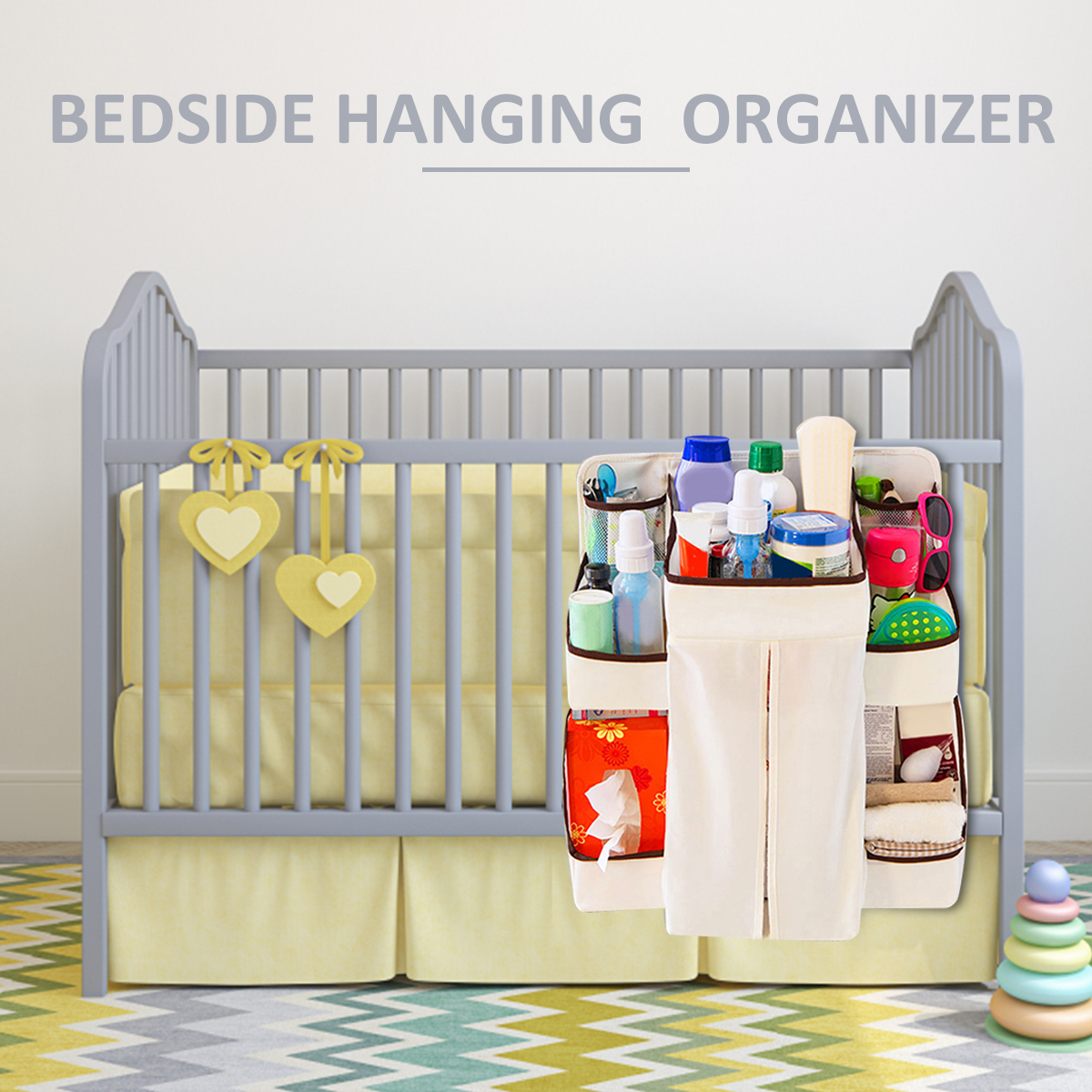 Baby Cots That Attach To Beds Baby Bed Hanging Bag Crib Toy Organizer Diaper Bag Cradle Pockets Cot Bed Multifunctional Net Yarn Dispenser Pouch