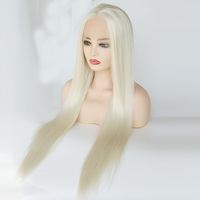 V'NICE Platinum Blonde Wavy Wig 613# Color Long Synthetic Lace Front Wigs for White Women Heat Resistant Fiber Hair