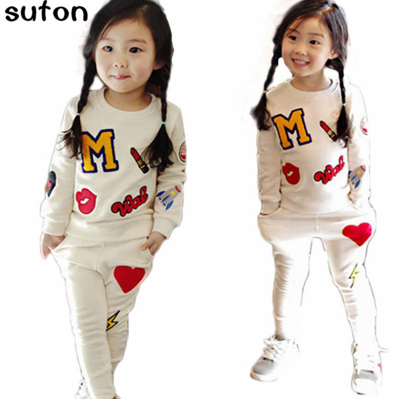 suton Baby Girls Clothes Set Lipstick Patch Cartoon Cotton Long Sleeve T-Shirt+casual Pants 2pcs Set Kid Clothes Children Suits 2017 children baby girl cartoon cars t shirt pants 2pcs clothes set suit top sweater clothing set baby boy cotton suits winter