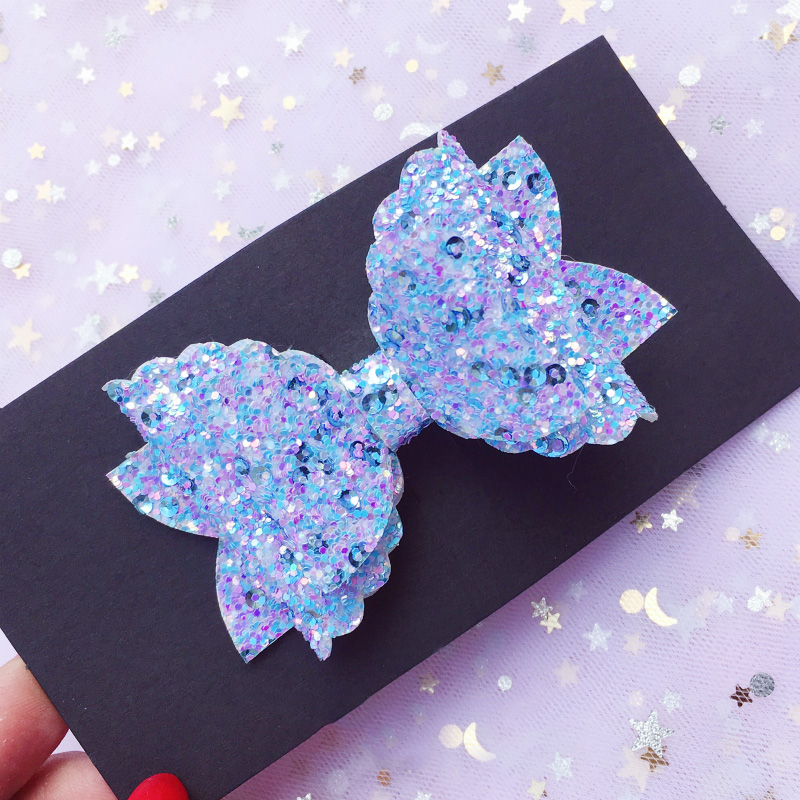 Glitter Hair Bows with Clips Mermaid Bowknot Girls Hairgrips Hairpins Princess Dance   Headwear   Party Hair Accessories