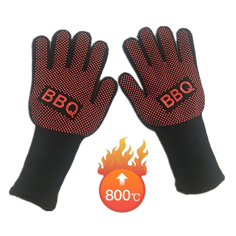 1pair Safety Gloves Fire Resistant Gloves Men Anti High Temperature BBQ Gloves Working Microwave Oven Outdoor Barbecue 932F New