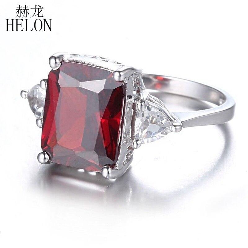 HELON Серебро 925 безупречный 7.2ct гранат и белый топаз камень Обручение обручальное кольцо Ainnversary вечерние Для женщин ювелирные изделия