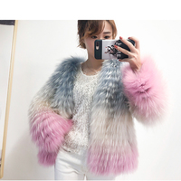 2018 new imported scorpion hair rainbow woven fur fox fur coat was thin short gradient color coat female