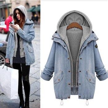 c54680897bf Верхняя одежда и пальто Куртки зима Для женщин теплый воротник с капюшоном  Джинсовый плащ парка пальто и куртки Для женщин 2018Sep28