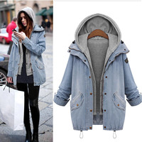 Outerwear & Coats Jackets Winter Women Warm Collar Hooded Denim Trench Parka coats and jackets women 2018Sep28