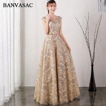 BANVASAC 2018 Ffrogiau Nos Hir Sequined Llinell O Neck Parti Lace Crystal Sash Crystal Agored Back Back