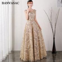 BANVASAC 2018 A Line O Neck Sequined Длинные вечерние платья Элегантная кружевная вечеринка Crystal Sash Открытые выпускные платья