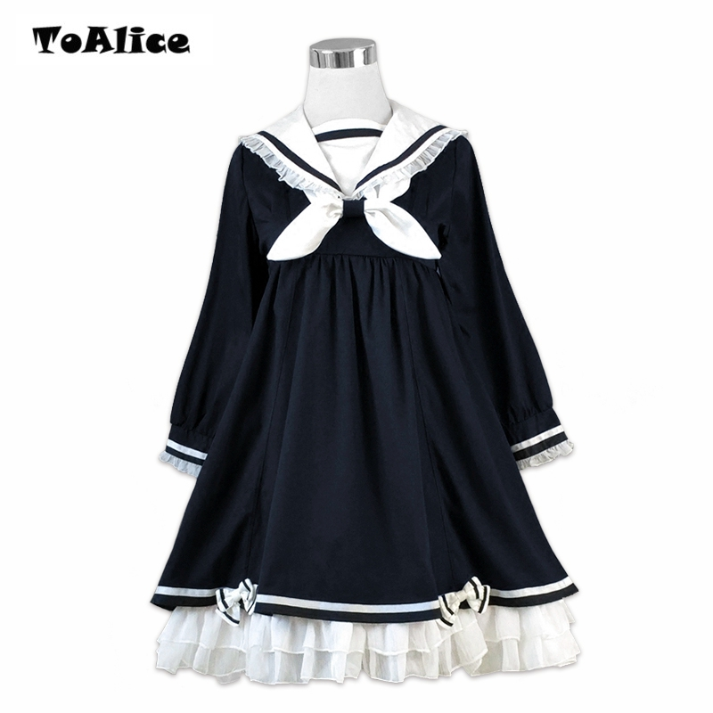 Preppy Style Girl Cute Lolita Bow Black Ruffles Long Sleeve Sailor Navy Collar Women Dresses Autumn 2018