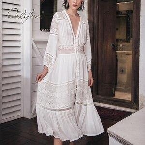 Image 5 - Ordifree robe longue de plage en dentelle blanche, manches longues, Sexy, style Boho Maxi, vêtements de vacances, été 2020