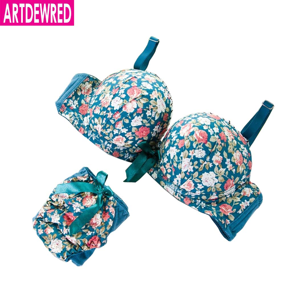 Hot Sell High Quality Sexy Push Up   Bra   Satin bowknot Flower Charming Underwear   Brief   Lingerie Women   Bra     Set   32 34 36 ABcup