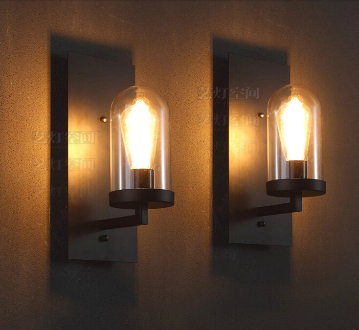 Creative American Industrial Wall Lamp LOFT Glass Sconce Vintage Coffee Apliques Pared Bedroom Bedside Light Modern Edison E27 american loft style glass edison wall sconce industrial vintage wall light for bedside antique hemp rope lamp lampara pared